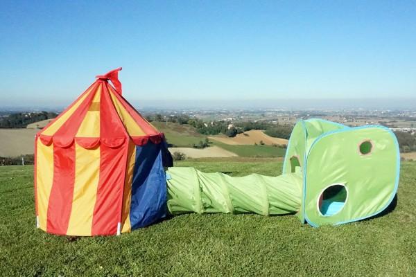 giochi bambini agriturismo al vigneto parma tunnel tenda